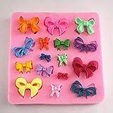 Longzang Small Bow Bowknot Silicone Mold Sugar Craft DIY Gumpaste Cake Decorating Clay (F318)