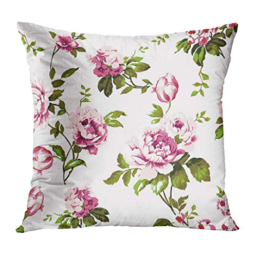 TOMKEYS Throw Pillow Cover Blue Abstract Shabby Chic Vintage Roses Tulips and Forget Me Nots Classic Chintz Floral Raster Colorful Decorative Pillow Case Home Decor Square 20x20 Inches Pillowcase