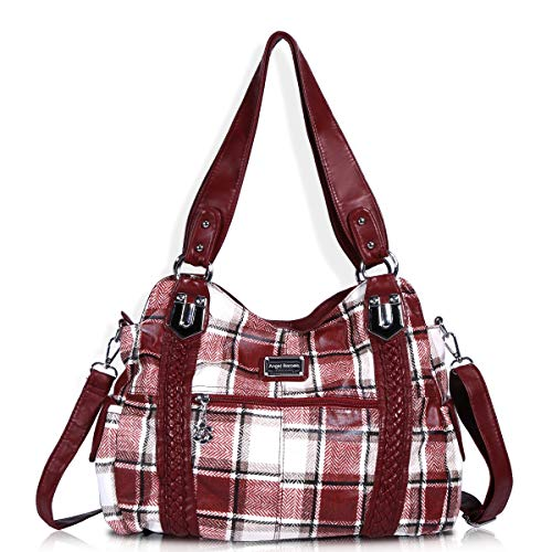 (Angel Barcelo Roomy Fashion Hobo Womens Handbags Ladies Purse Satchel Shoulder Bags Tote Washed Leather Bag Red)