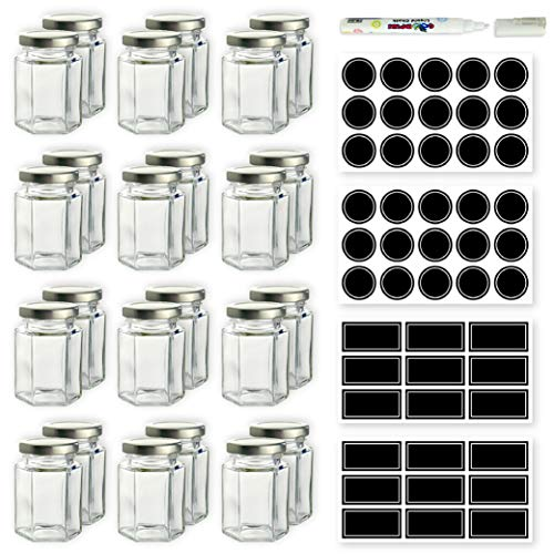 Hexagon Glass Jars - 4 oz Set of 24 Glass Jars with Silver Caps with Chalkboard Labels and Marker - Perfect for Spices, Honey, Canning, Gifts and ()