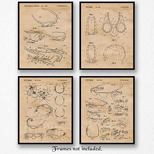 Original Oakley Eyewear Patent Art Poster Prints, Set of 4 (8x10) Unframed photos, Great Wall Art Decor Gifts Under 15 for Home, Office, Studio, Man Cave, Student, Teacher, Coach, Athlete, ()