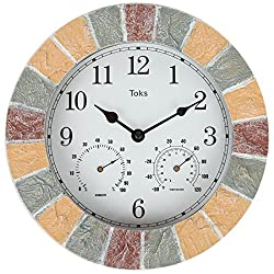 Lily's Home 10-Inch Faux-Stone Indoor or Outdoor Wall Clock with Thermometer and Hygrometer (Stone)