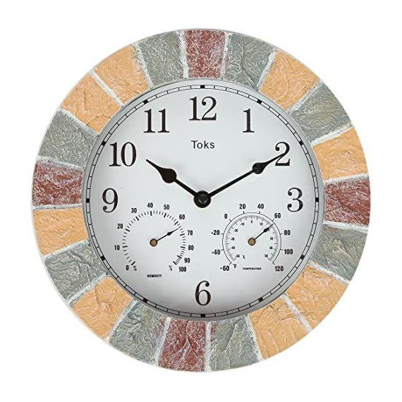 Lily's Home 10-Inch Faux-Stone Indoor or Outdoor Wall Clock with Thermometer and Hygrometer - EXCELLENT FOR OUTDOOR USE: The Hanging Wall Clock with a Thermometer and Hygrometer is designed to work both indoors and outdoors and has been crafted to be weather resistant, whether rain, or snow, sleet, or sun! The clock itself has been designed with quartz movement and guarantees accurate timekeeping. BUILT IN THERMOMETER AND HYGROMETER: This Hanging Wall Clock has been designed with a built-in thermometer and hygrometer. The thermometer can measure temperatures from -60 to 120 degrees Fahrenheit while the hygrometer can measure humidity from 0% to 100%. This piece is great for outdoor use in the garden, backyard, or by the pool! BATTERY POWERED AND EASY TO MOUNT: The Hanging Wall Clock is battery powered and does not have any cords or cables. 1 AA battery is required but is not included. - wall-clocks, living-room-decor, living-room - 51%2BIj3VG7DL. SS570  -