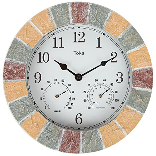 Lily's Home Hanging Wall Clock, Includes a Thermometer and Hygrometer and is Ideal for Indoor and Outdoor Use, Faux-Stone (10 Inches)