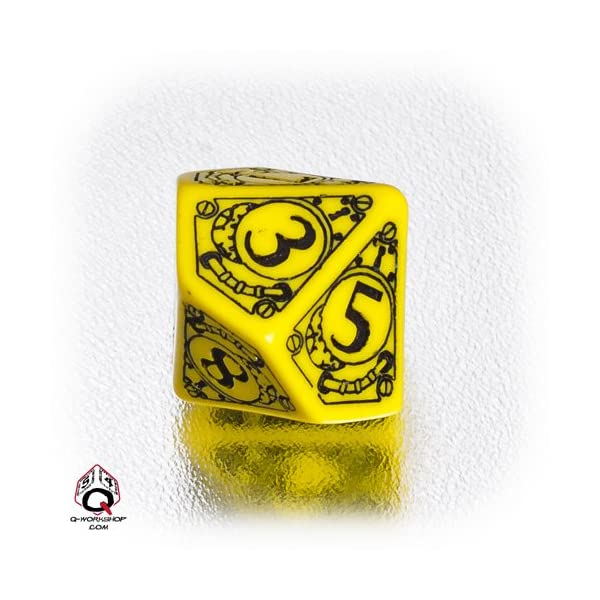 1 (One) Single d10 - Q-Workshop: Carved STEAMPUNK Ten Sided Dice / Die (Yellow / Black) 4