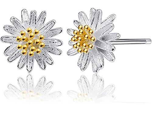 Daisy Clip Earrings (Eternity J. Silver Crystal Daisy Flower Earrings Cute Allergy Free Ear Studs Ear Clip Pin Christmas)