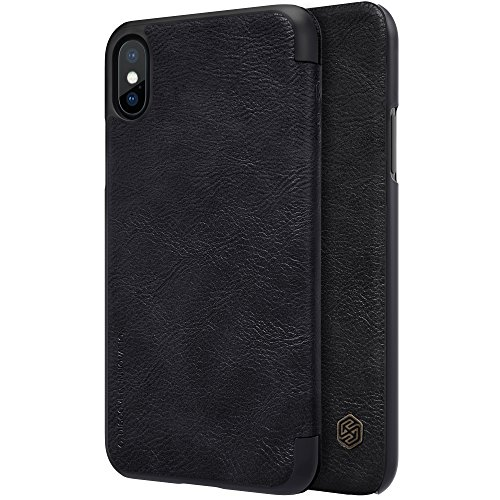 Nillkin Qin Series Royal Leather Flip Cover Case Case For Iphone X  Black