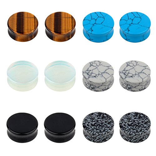 TOPBRIGHT 6 Pairs Natural Mixed Stone Ear Plugs Gauges Tunnels Saddle Expander Body Piercing Jewelry Set (Saddle Ear Plugs)