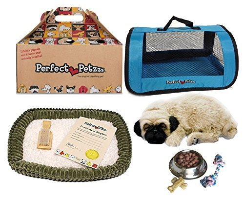 Perfect Petzzz Huggable Pug Puppy with Blue Tote For Plush Breathing Pet and Dog Food, Treats, and Chew Toy