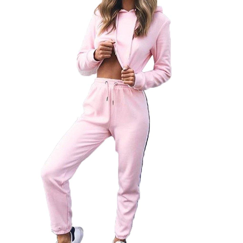 Babysbreath 2 pezzi Abbigliamento sportivo donna Felpe con cappuccio Coltivazione Top Pantaloni lunghi Set Casual Tuta Sportiva Suit Sportsuit