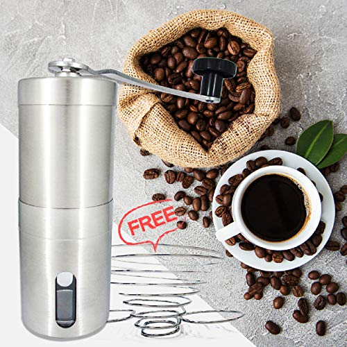 SHOUDU Manual Coffee Bean Grinder with Adjustable Setting, Stainless Steel, Get Collapsible Coffee Dripper Filter Holder, For Travel, Camping, Business