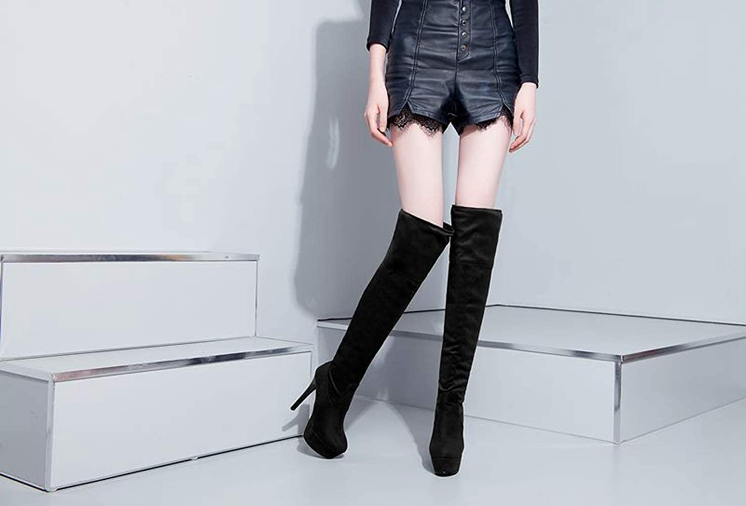 Hoxekle Knee High Boots Thin High Heel Over The Knee Women Long Boot Concise Black Grey Soft Leather Platform
