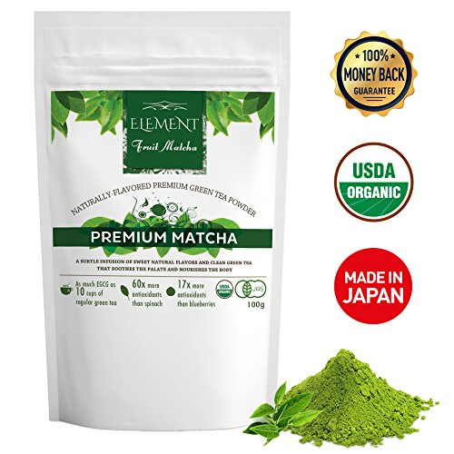 Element Matcha - Matcha Green Tea Powder Flavored with Natural Fruit - Premium Unflavored - (3.5oz/100g)(30 servings) - USDA Organic - Perfect for: Green Smoothies - Shakes - Baking - Matcha Lattes