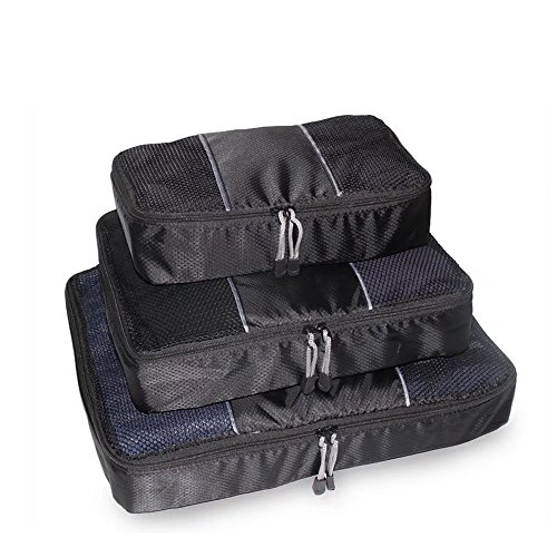 Brendacosmtic Waterproof Black Luggage Cube with Double Zipper for Men,Light Weight Packing Cube Cosmetic Bag for Travel Organizer Pounch