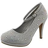 Top Moda Women's Embellished Rhinestone Ankle Strap Round Toe Pump (9 B(M) US, Silver)