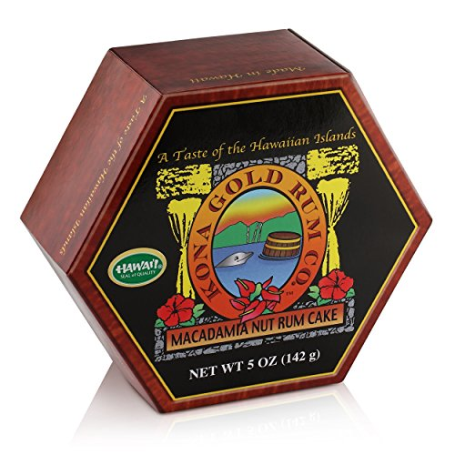Macadamia Rum Cake by Kona Gold Rum Co - 5oz, Original – Perfect for Holidays, Gifts, and Parties – Made in Hawaii (Fruit Chocolate Delivery)
