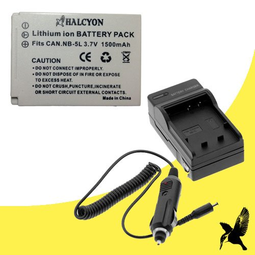 Halcyon 1500 mAH Lithium Ion Replacement Battery and Charger Kit for Canon PowerShot ELPH SD880 IS 8.0 MP Digital Camera and Canon NB-5L