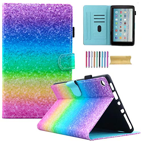 Fire HD 10 Case, AMotie Folio Leather Wallet Smart Cover w/Credit Card Slots & Auto Sleep Wake for All New Fire HD 10.1 inch Tablet (5th and 7th Generation, 2015 & 2017 Release), Rainbow Sand