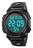 Men 's Large Face Digital Outdoor Sports Waterproof Watch LED Luminous Alarm Stopwatch