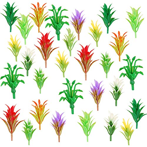 NW 100pcs 0.79inch Mixed Color Mini Trees Model Train Scenery Architecture Flower Model Scenery with No Stands