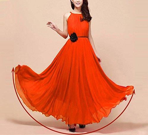 Unique Orange ceinture femme cocktail halter robe Taille longue de robe Violet longue femme vintage plage Hoverwin clair mousseline avec robe ete robe FUxnz