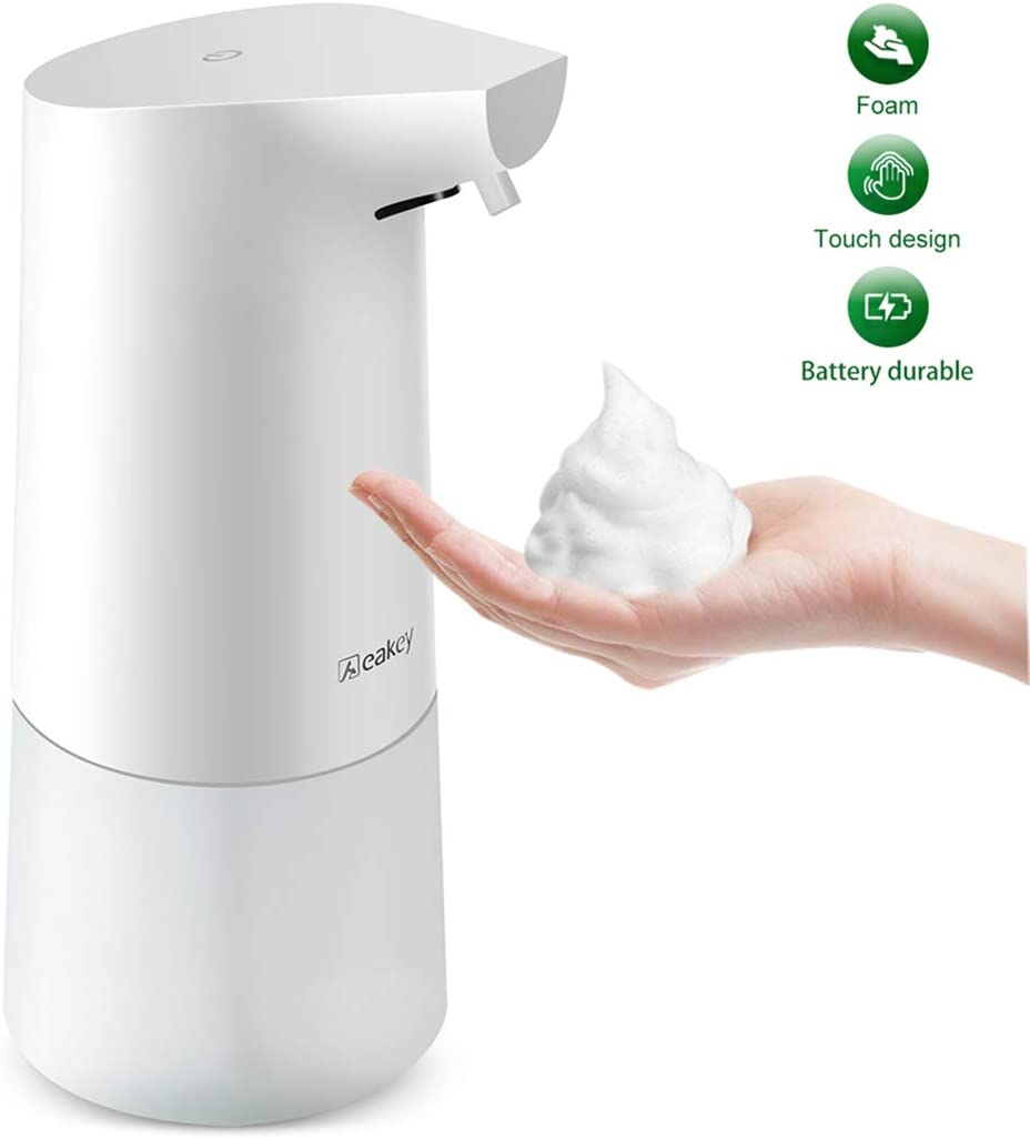 Aeakey Soap Dispenser, Electric Automatic Foaming Soap Dispenser Touchless Battery Operated Adjustable Soap Dispenser Volume Control Switch for Bathroom Kitchen Toilet Office Hotel