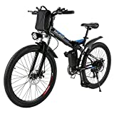 ANCHEER Folding Electric Mountain Bike with 26 Inch Wheel, Large Capacity Lithium-Ion Battery (36V 250W), Premium Full Suspension and Shimano Gear (Black) (Black-)