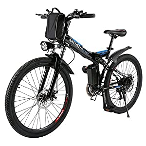 ANCHEER Folding Electric Mountain Bike with 26 Inch Wheel, Large Capacity Lithium Ion Battery (36V 250W), Premium Full Suspension and Shimano Gear