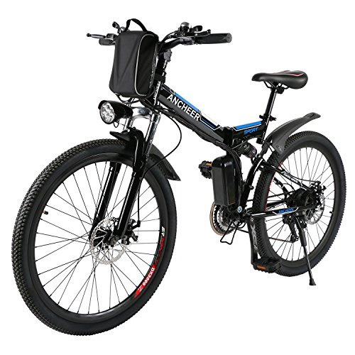 36v Lithium Ion Battery (ANCHEER Folding Electric Mountain Bike with 26 Inch Wheel, Large Capacity Lithium-Ion Battery (36V 250W), Premium Full Suspension and Shimano Gear (Black))
