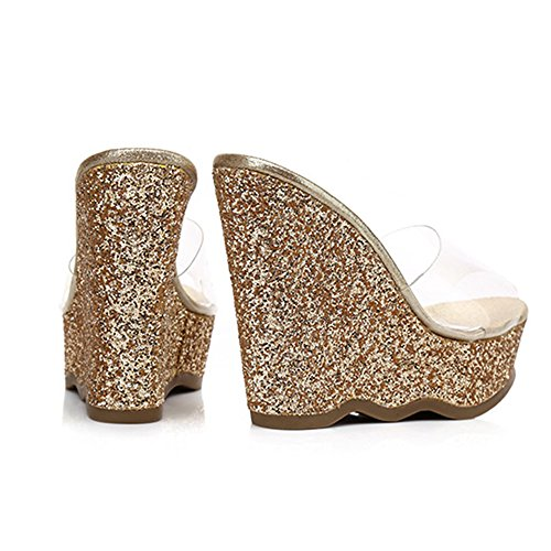 de cu sandalias del las verano Plataformas ZHIRONG mujeres de impermeables las lentejuelas de del alto transparentes oro de tal as las za0awqBf