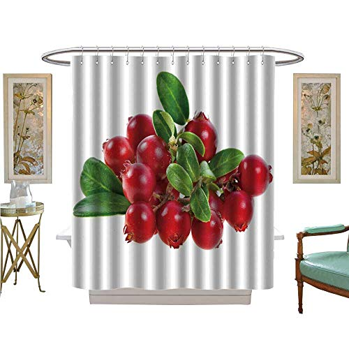 luvoluxhome Shower Curtain Customized Cranberry Cowberry Bush Branch Isolated on White Background Bathroom Decor Sets with Hooks W72 x L96