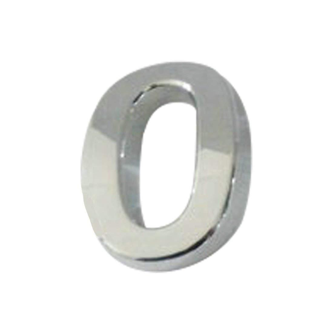 Cristoferv Piastra autoadesiva in cromo, per numero di porta, auto, indirizzo, numeri, numero 0, 0