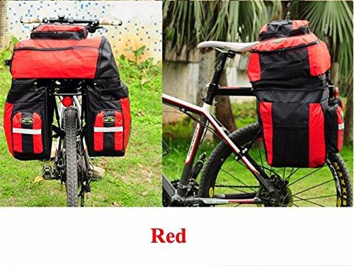 65L Waterproof Cycling Bag Bicycle Rack Bag Long Journey Luggage Mountain Bike Pannier Cycling Bags +Rain Cover (Red)