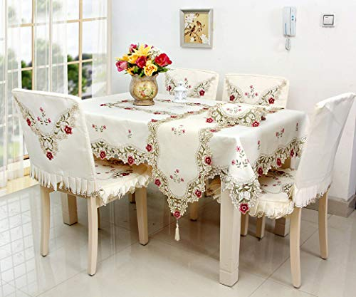 RXIN European Pastoral Embroidery Dustproof Tablecloth Hollow Floral Side Table Decoration Chair Cover Chair Mat for Home Or Hotel