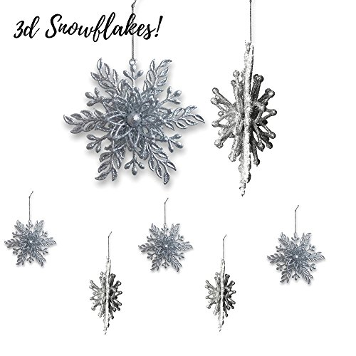 Silver Snowflake Ornaments - Set of 6 Glittered Christmas Ornaments - 3-D Looking Snowflakes - Silver Holiday Décor (Ornament Snowflake Set)