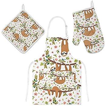 U-Life Apron with Pocket Oven Mitt Pot Holder Set Sloth Floral Flowers Animal for Women Men Kids
