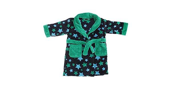 Bata de estar por casa de micro-polar con estampado de estrellas para niños (3-4 Años/Marino/azul/verde): Amazon.es: Ropa y accesorios