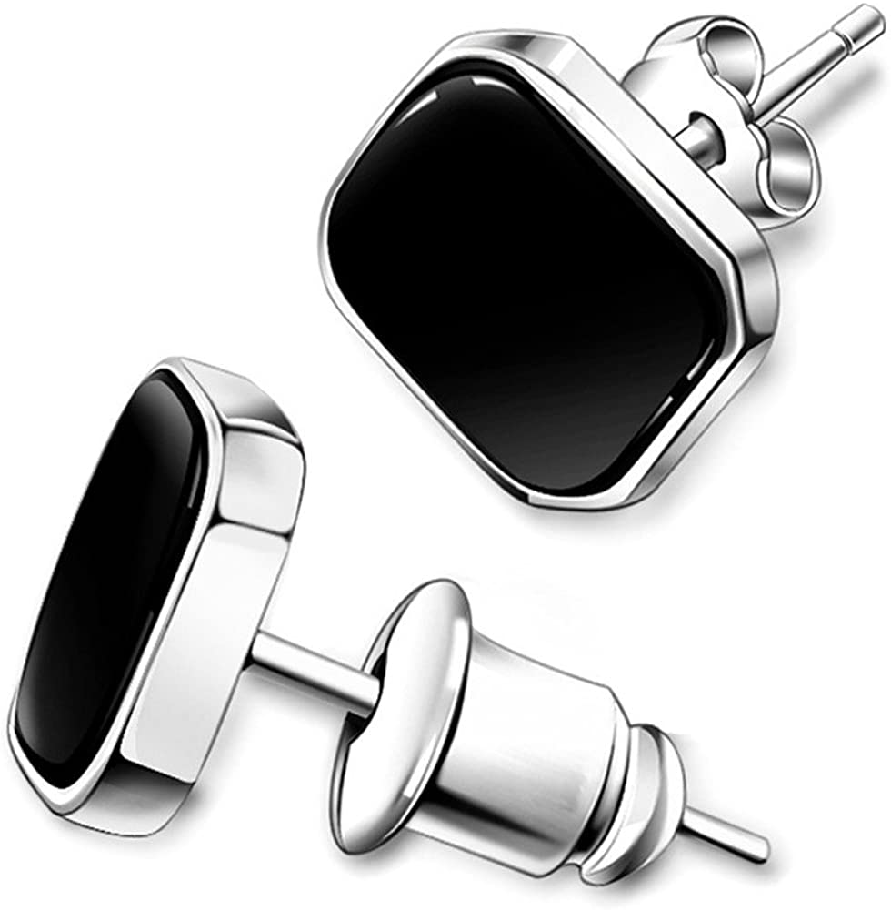 large Stud earrings 925 Silver Earrings Onyx black gold Classy