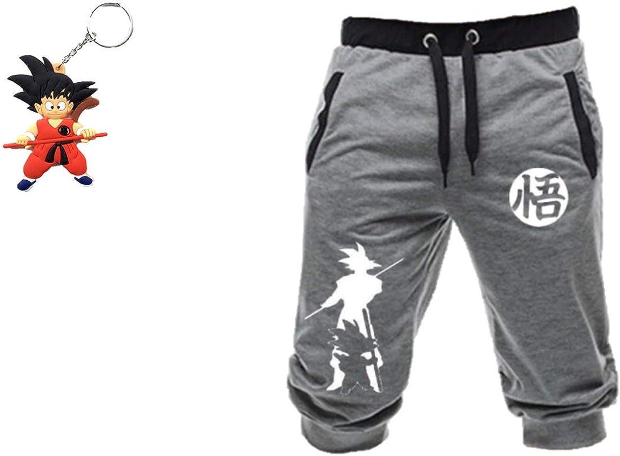 Geek Gear Dragon Ball Z Men Shorts Kanji Pants Workout Gym Pants Free Keychain