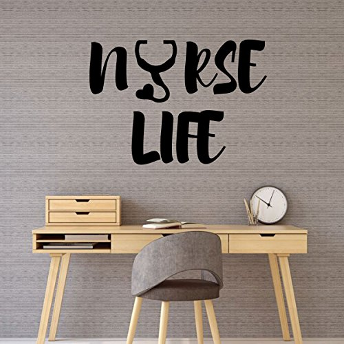 Wall Decal for Nurses - Nurse Life - RN Gift Vinyl Decor for Home, Bedroom or Office -