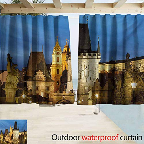 AndyTours Rod Pocket Top Blackout Curtains/Drapes,European Charles Bridge Tower Dusk Czech Repuclic Prague Architecture Scenes from Europe,Room Darkening, Noise Reducing,W63x63L Inches,Multicolor ()