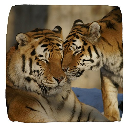 13 Inch 6-Sided Cube Ottoman Nuzzling Tiger Love