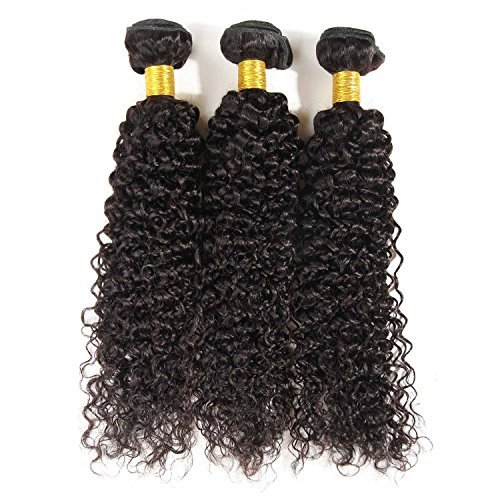 BHF Hair Grade 7a Virgin Brazilian Curly Human Hair 3 Bundles (3.528oz/bundle) 8-30 Inch Natural Black Color Full Head (18 20 22)