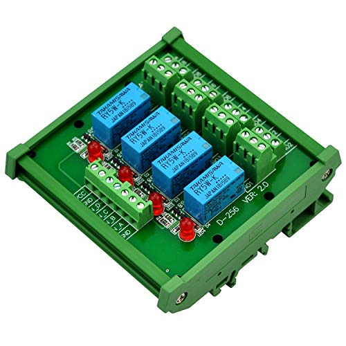 (Electronics-Salon DIN Rail Mount 4 DPDT Signal Relay Interface Module, DC 5V Version.)