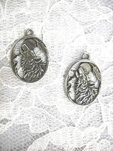 (Howling Wolf Head w Moon Feather in Oval Shape Dangling Charm Earrings KEZ-572)