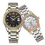 SOLLEN His and Hers Crystal Engraving Quartz Analog Waterproof Wrist Watch Luminous Couple Watch 2 pcs SL-521 (Black)
