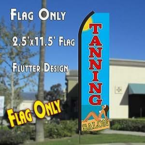TANNING SALON (Blue/Red) Flutter Polyknit Feather Flag (11.5 x 2.5 feet)