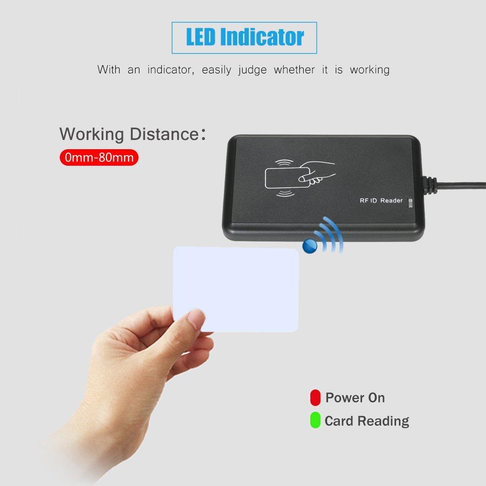 1x Lector+1x Tarjeta de Setup+2x Tarjetas de Prueba RFID Lector de Tarjetas Sin Contacto 125KHz USB Configurable EM Inteligentes Proximidad Card Reader para Control de Acceso Anself