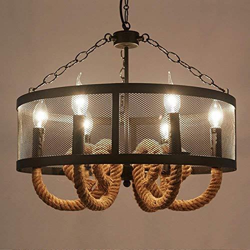 Stt Lamp - STTS Chandelier-Pendant Lights 6 Lamp Holder E14 Iron Art Hemp Rope Round Chandelier 50 40Cm