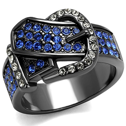 13.5 mm Wide Belt Buckle Band Brilliant Designer Ring Stainless Steel